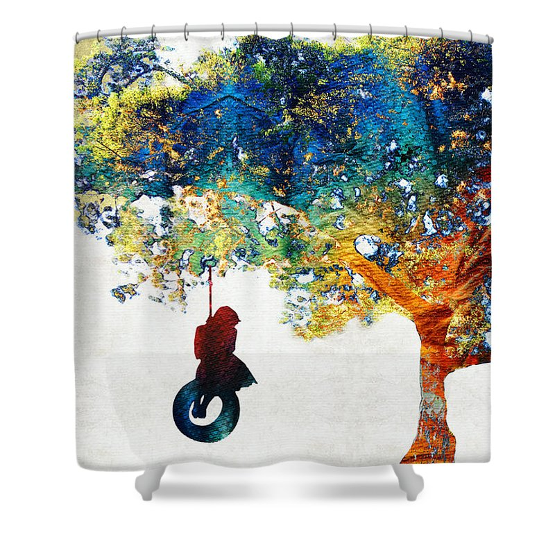 Tree Shower Curtain featuring the painting Colorful Landscape Art - The Dreaming Tree - By Sharon Cummings by Sharon Cummings