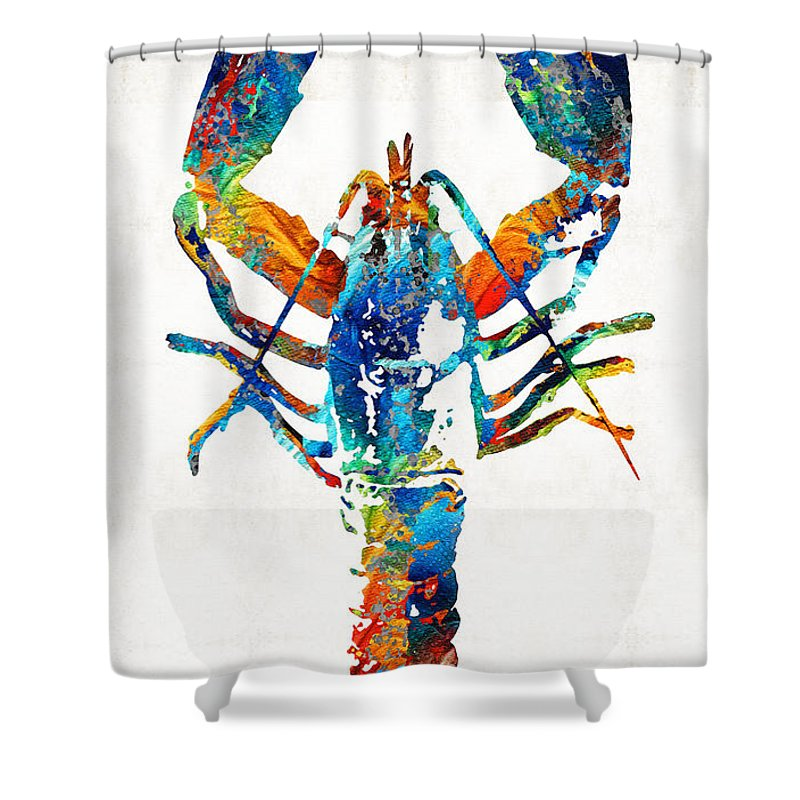 Lobster Shower Curtain featuring the painting Colorful Lobster Art By Sharon Cummings by Sharon Cummings