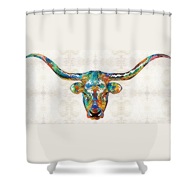 Cow Shower Curtain Featuring The Painting Colorful Longhorn Art By Sharon Cummings