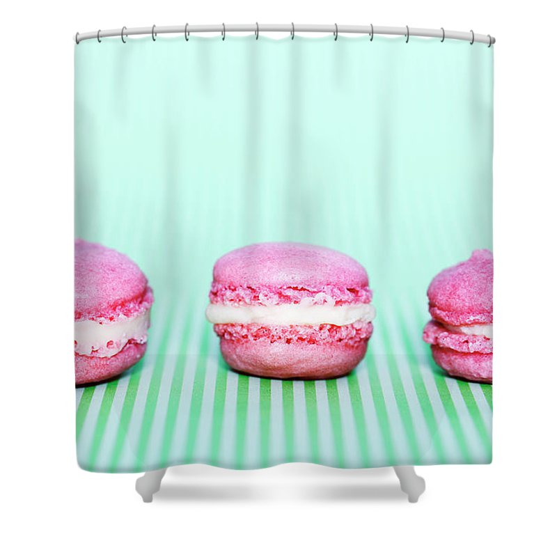 Temptation Shower Curtain featuring the photograph Colorful Macaroons by Tarek El Sombati