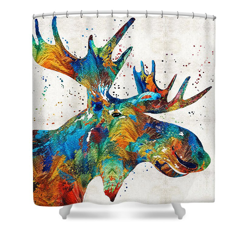 Moose Shower Curtain Featuring The Painting Colorful Art