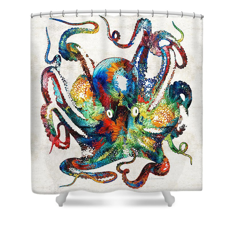 Octopus Shower Curtain Featuring The Painting Colorful Art By Sharon Cummings