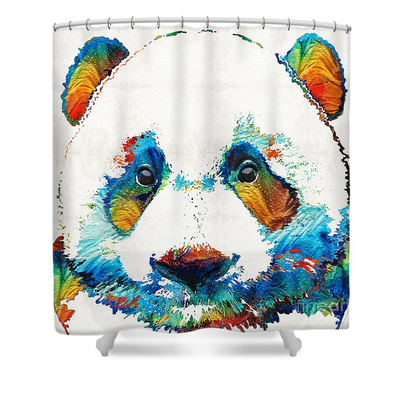 Panda Shower Curtain Featuring The Painting Colorful Bear Art By Sharon Cummings