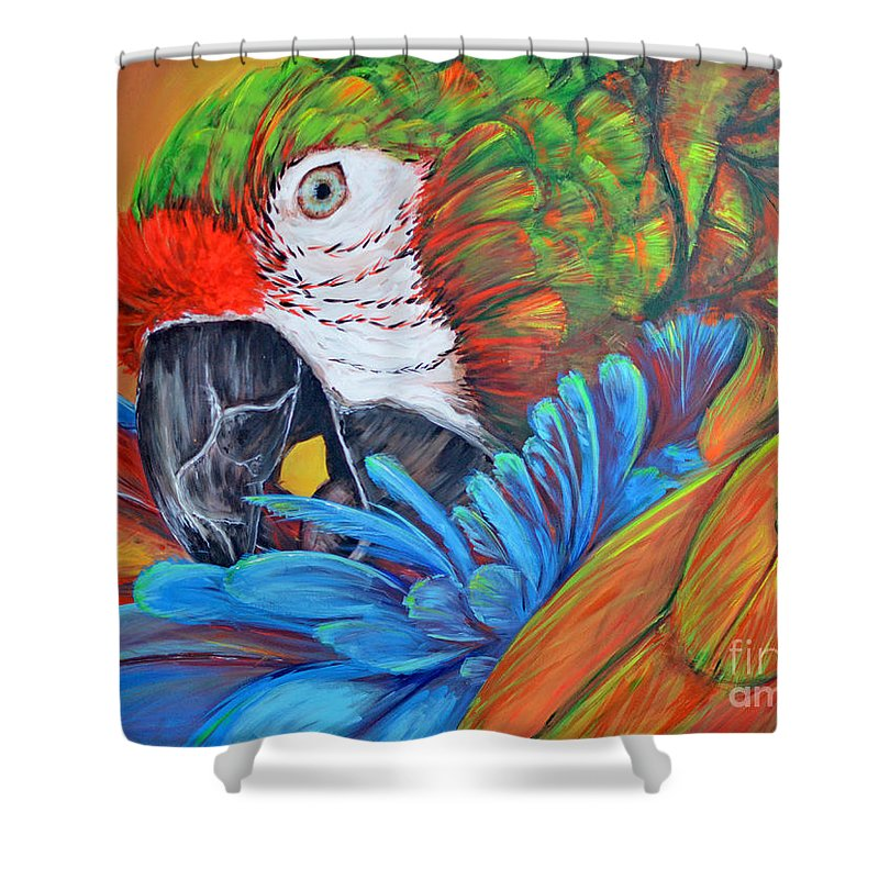Parrot Shower Curtain featuring the painting Colorful Parrot by Paola Correa de Albury