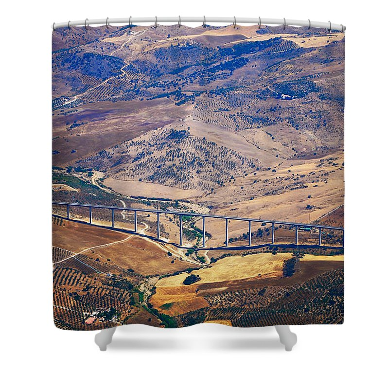 Spain Shower Curtain featuring the photograph Colorful Patchwork Of Andalusian Fields. Spain by Jenny Rainbow