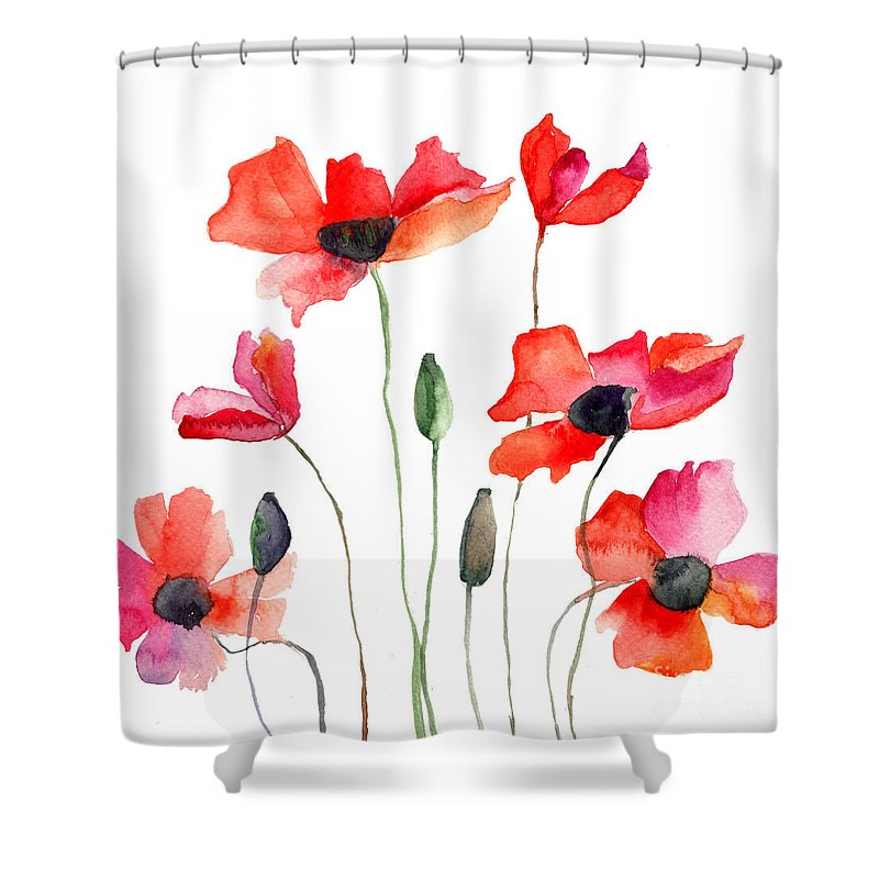 Colorful Red Flowers Shower Curtain For Sale By Regina Jershova
