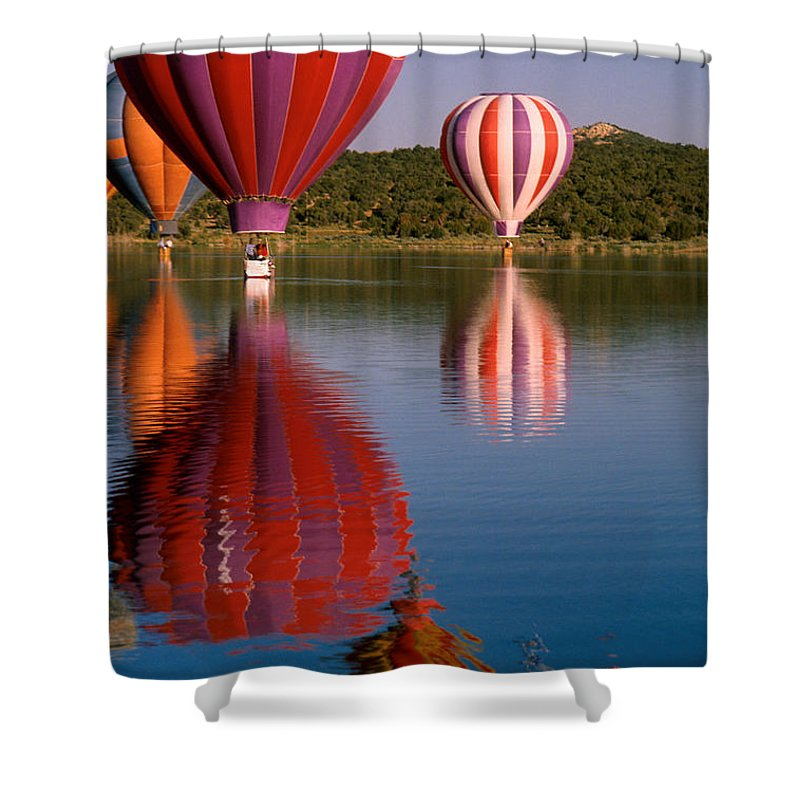 Hot Air Balloon Shower Curtain featuring the photograph Colorful Reflection by Jerry McElroy