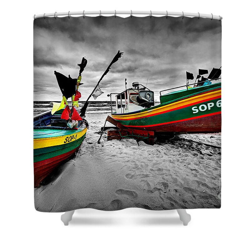 Boat Shower Curtain featuring the photograph Colorful Retro Ship Boats On The Beach by Michal Bednarek