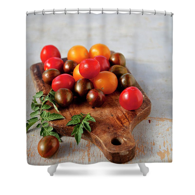 Cutting Board Shower Curtain featuring the photograph Colorful Tomatoes by ©tasty Food And Photography