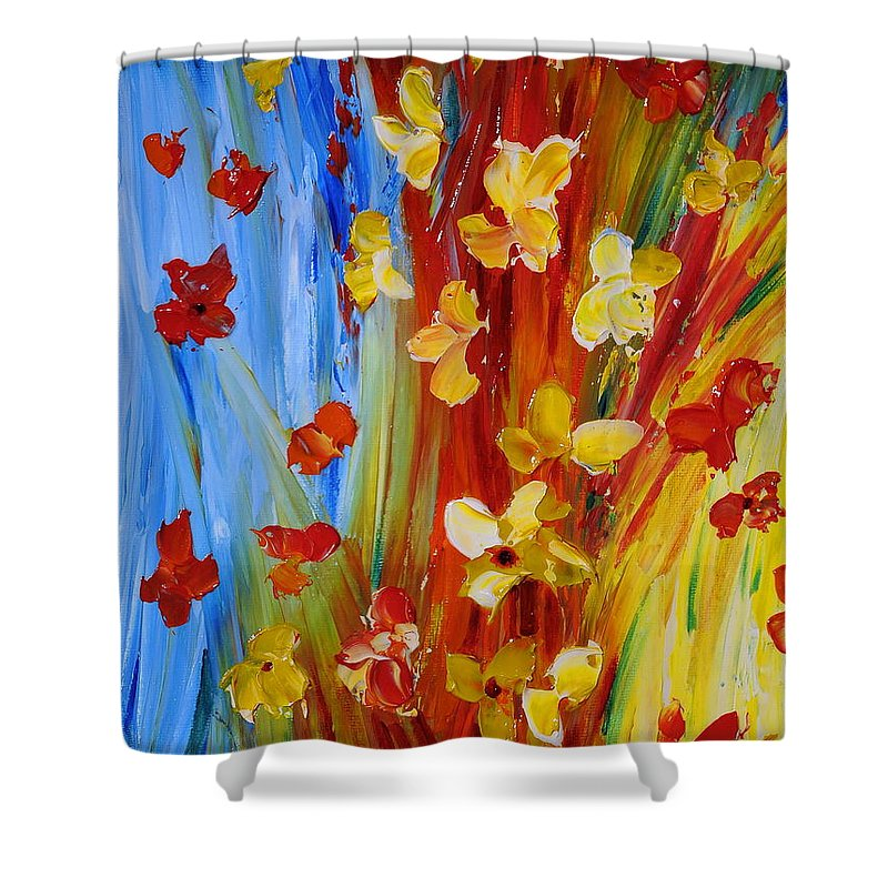 Flowers Shower Curtain featuring the painting Colorful World by Teresa Wegrzyn