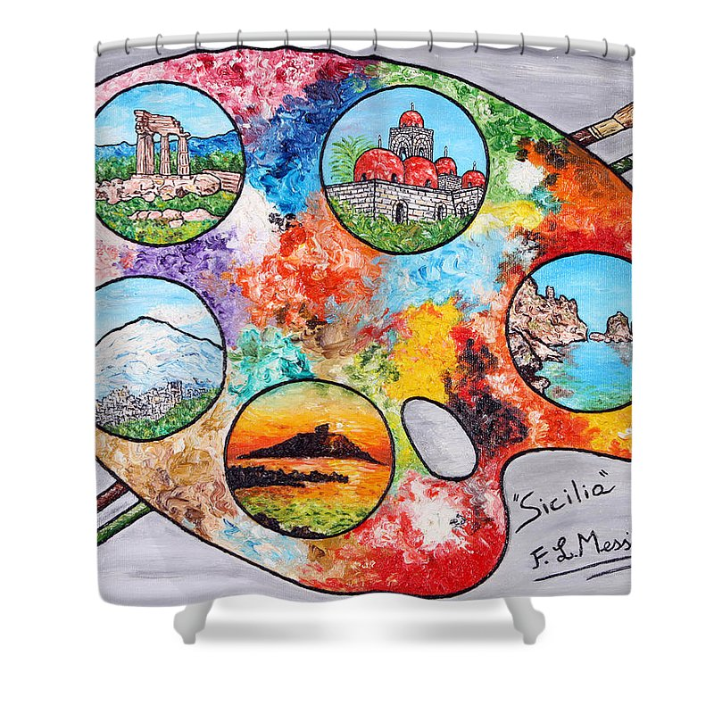 Painting Shower Curtain featuring the painting Colori Di Sicilia by Loredana Messina