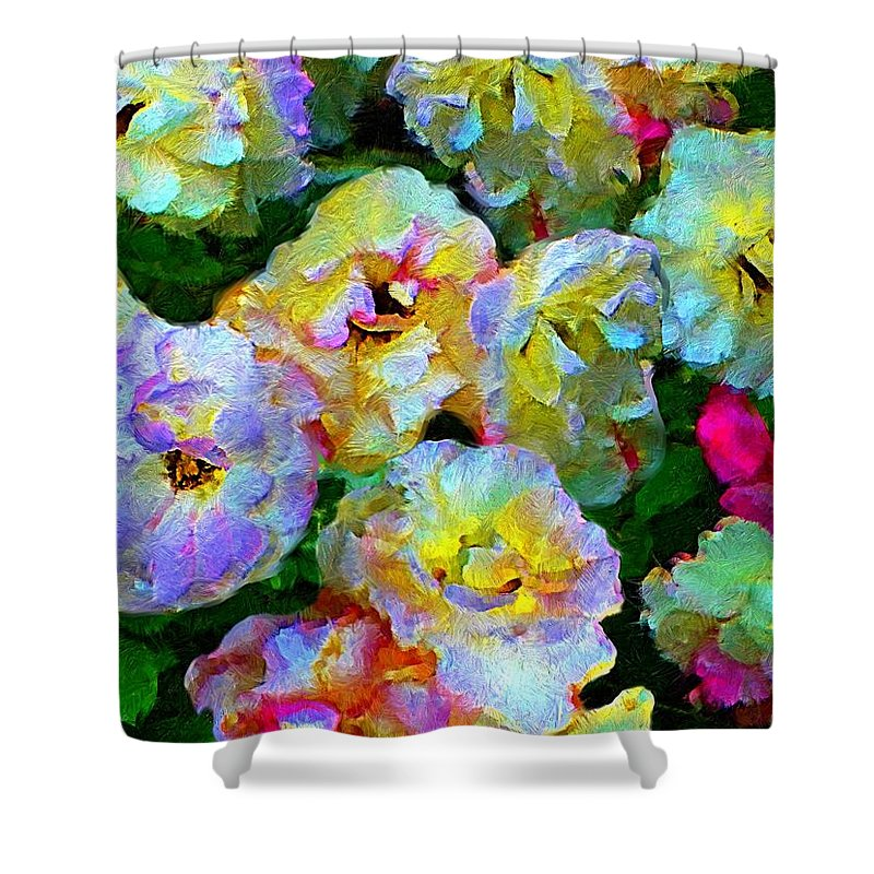 Rose Print Shower Curtain featuring the painting Colors And Roses by Susanna Katherine