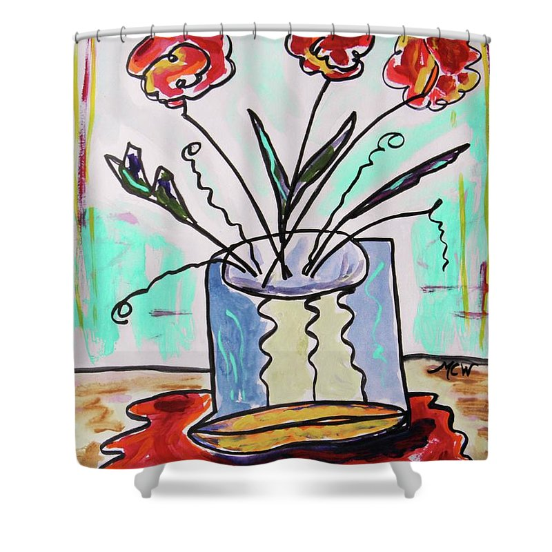 Ink Shower Curtain featuring the drawing Colors Combine by Mary Carol Williams