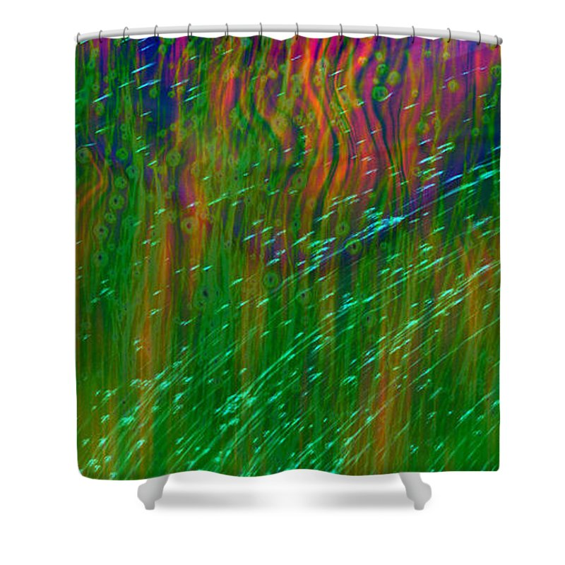 Abstract Shower Curtain featuring the digital art Colors Of Grass by Linda Sannuti
