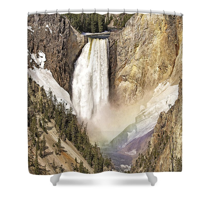 Yellowstone National Park Shower Curtain featuring the photograph Colors Of Light by Elaine Haberland