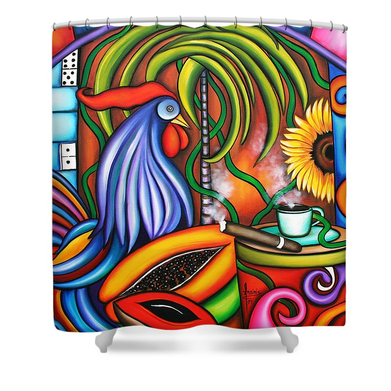 Cuba Shower Curtain featuring the painting Colors Of My World by Annie Maxwell