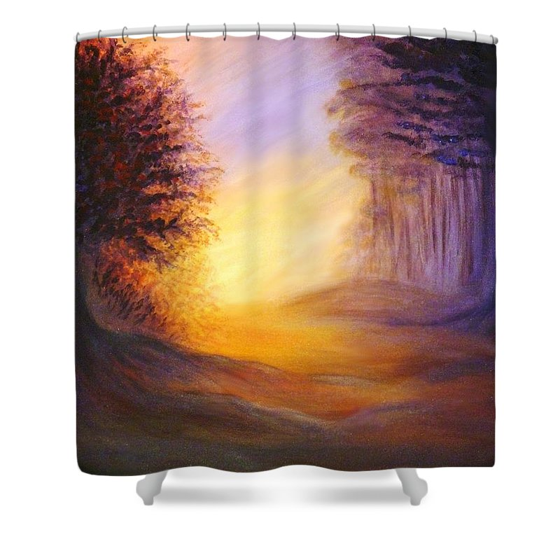 Original Art Shower Curtain featuring the painting Colors Of The Morning Light by Lilia D