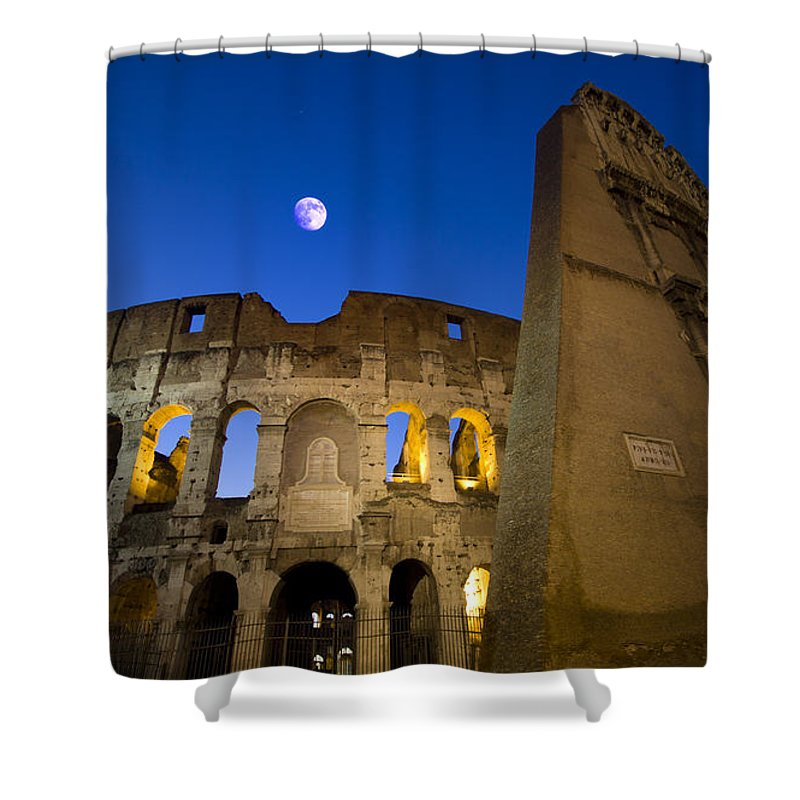 Colosseo Shower Curtain featuring the photograph Colosseum And The Moon by Stefano Senise