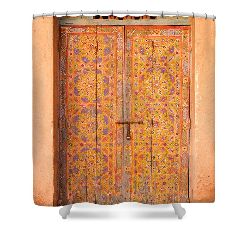 Door Shower Curtain featuring the photograph Colourful Entrance Door Sale Rabat Morocco by Ralph A Ledergerber-Photography