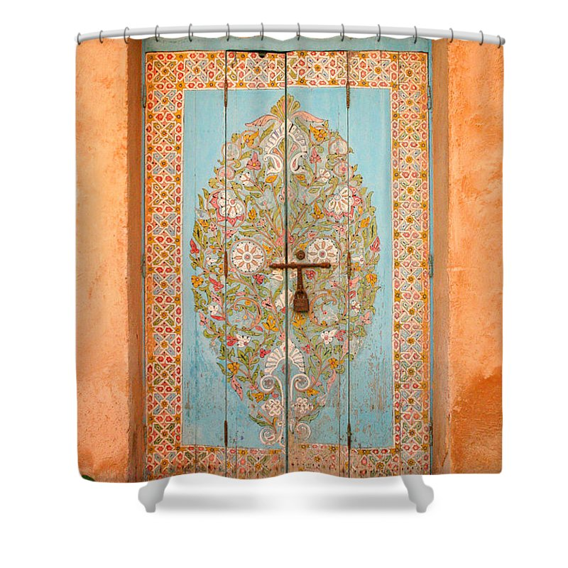 Door Shower Curtain featuring the photograph Colourful Moroccan Entrance Door Sale Rabat Morocco by Ralph A Ledergerber-Photography