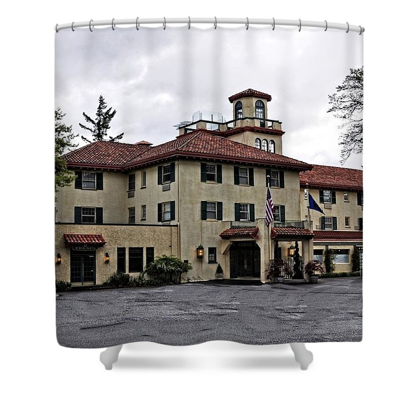 Hotel Shower Curtain featuring the photograph Columbia Gorge Hotel by Image Takers Photography LLC