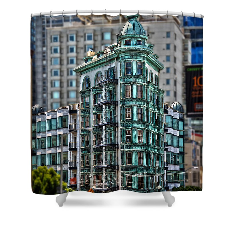 Columbus Tower Shower Curtain featuring the photograph Columbus Tower In San Francisco by RicardMN Photography