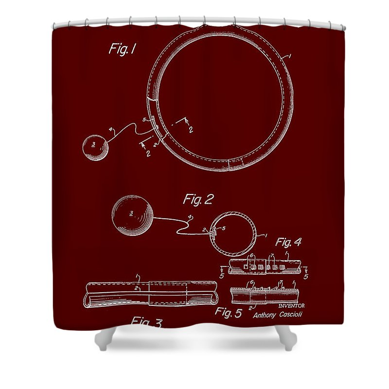 Patent Shower Curtain featuring the drawing Combined Hoop And Tethered Ball Toy Patent 1967 by Mountain Dreams