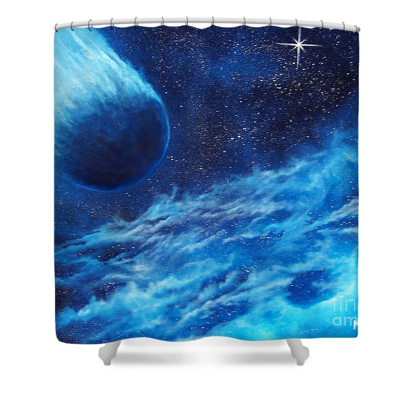 Astro Shower Curtain featuring the painting Comet Experience by Murphy Elliott
