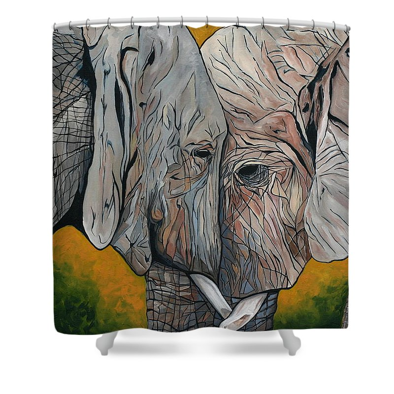 Elephant Shower Curtain featuring the painting Comfort by Aimee Vance