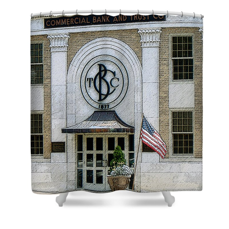 Windows On The Square Shower Curtain featuring the photograph Commercial Bank And Trust by Lee Owenby