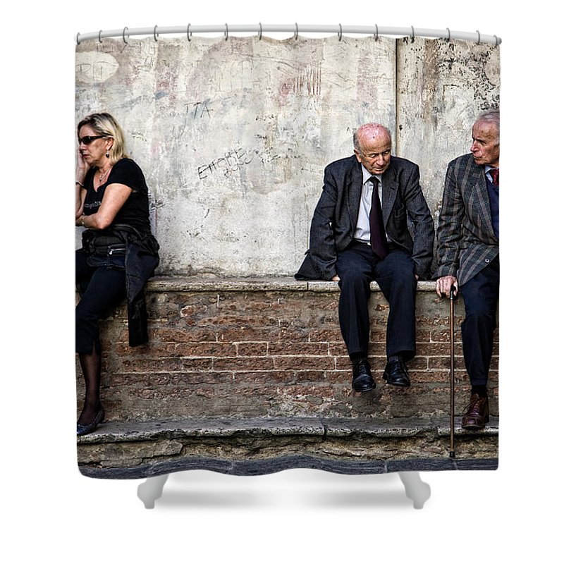 Street Photography Shower Curtain featuring the photograph Communication by Dave Bowman