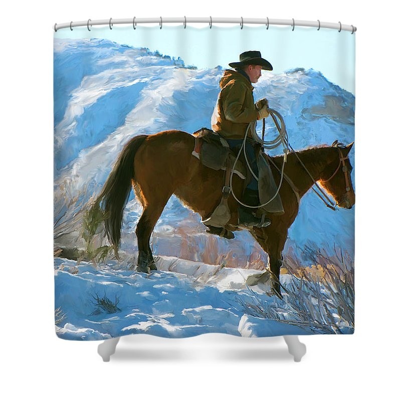 Man Shower Curtain featuring the painting Companions by Paul Tagliamonte