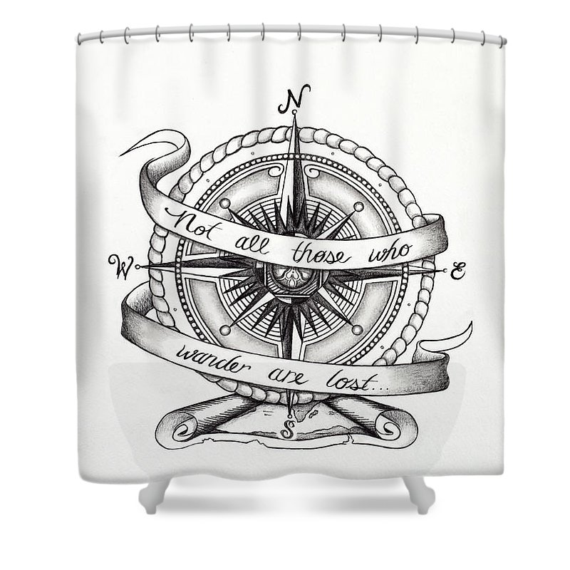 Compass Shower Curtain Featuring The Drawing By Jon Cotroneo