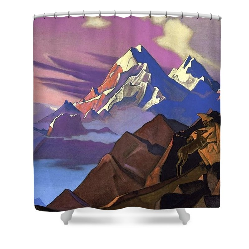 1936 Shower Curtain featuring the painting Compassion by Nicholas Roerich