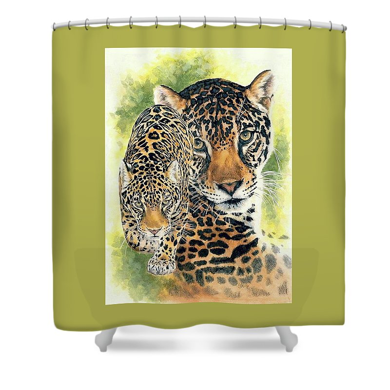 Jaguar Shower Curtain featuring the mixed media Compelling by Barbara Keith