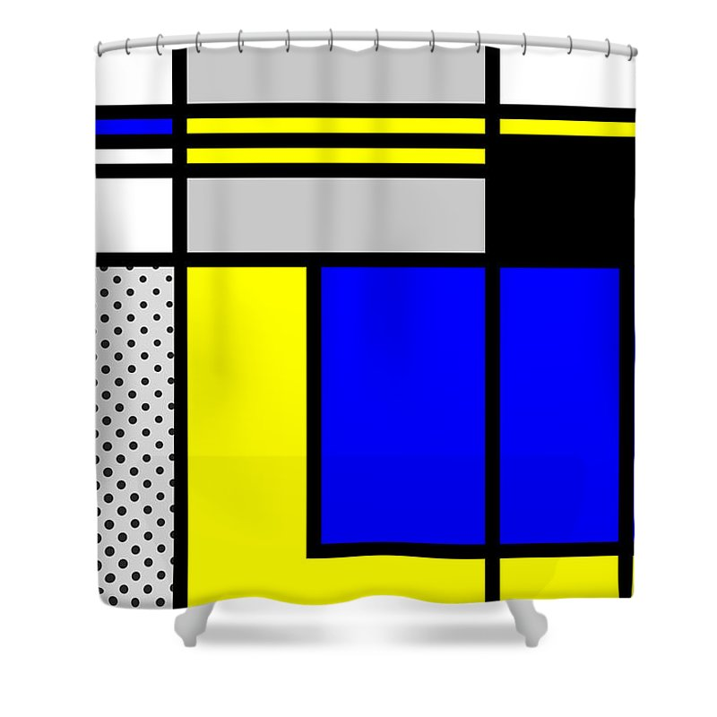 Mondrian Shower Curtain featuring the mixed media Composition 101 by Dominic Piperata