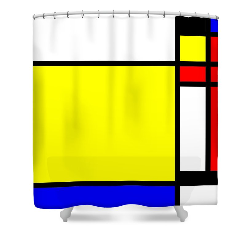 Mondrian Shower Curtain featuring the mixed media Composition 108 by Dominic Piperata