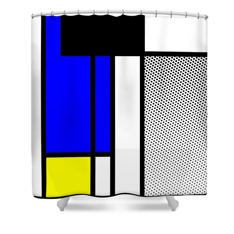 Mondrian Shower Curtain featuring the mixed media Composition 119 by Dominic Piperata