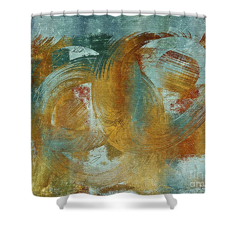 Abstract Shower Curtain featuring the digital art Composix 02a - V1t27b by Variance Collections