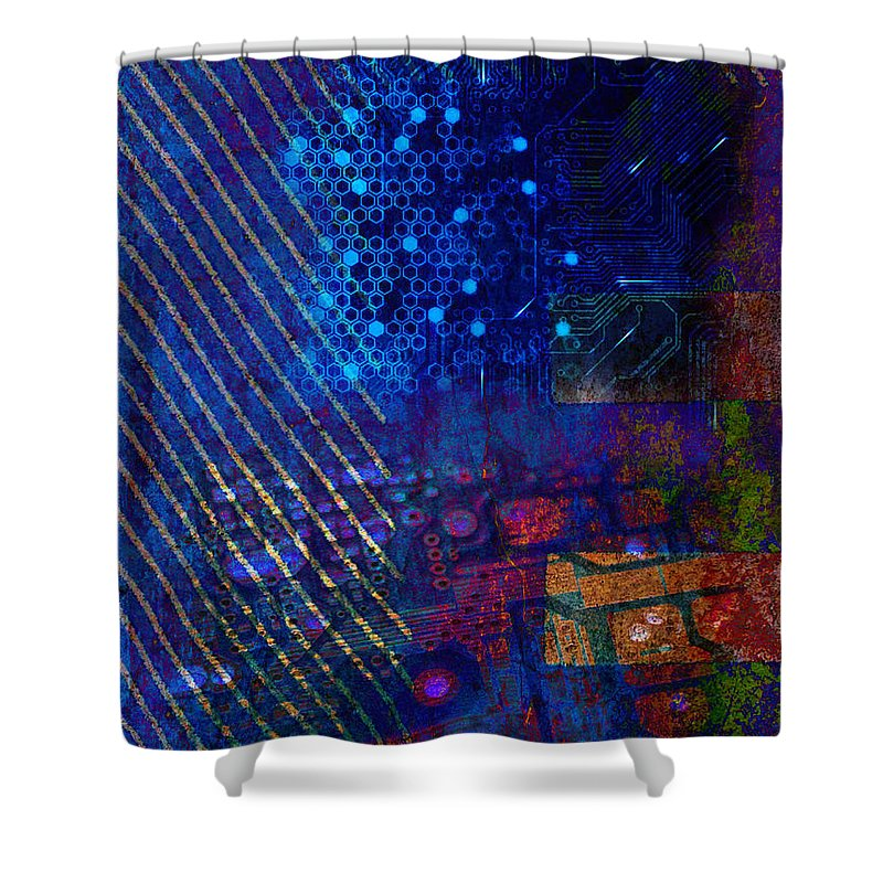 Digital Shower Curtain featuring the digital art Compute Abstract by Mary Clanahan