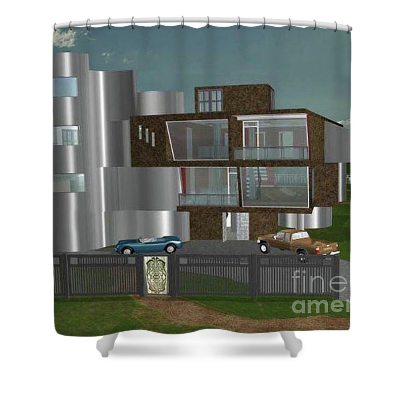 Concept Home Shower Curtain featuring the digital art Concept Home by Peter Piatt
