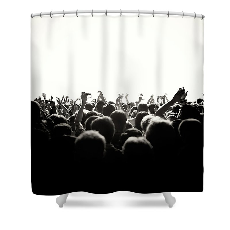 Rock Music Shower Curtain featuring the photograph Concert Crowd by Alenpopov