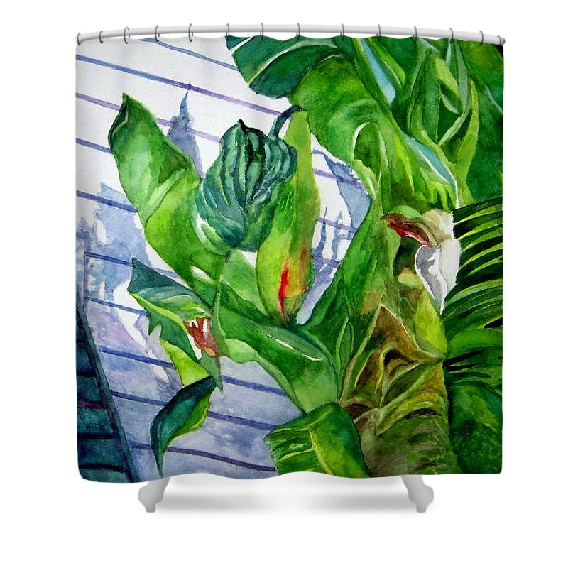 Key West Shower Curtain featuring the painting Conch House Tour by Kandy Cross