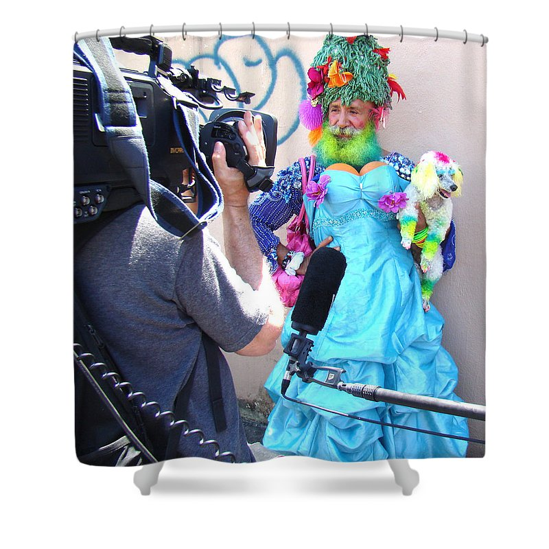 Man Coney Island Parade Crazy Silly Funny Shower Curtain featuring the photograph Coney Island Oddity by Alice Gipson