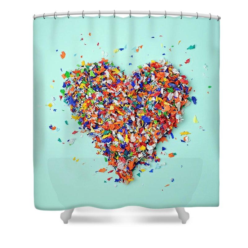 Celebration Shower Curtain featuring the photograph Confetti Heart by Juj Winn