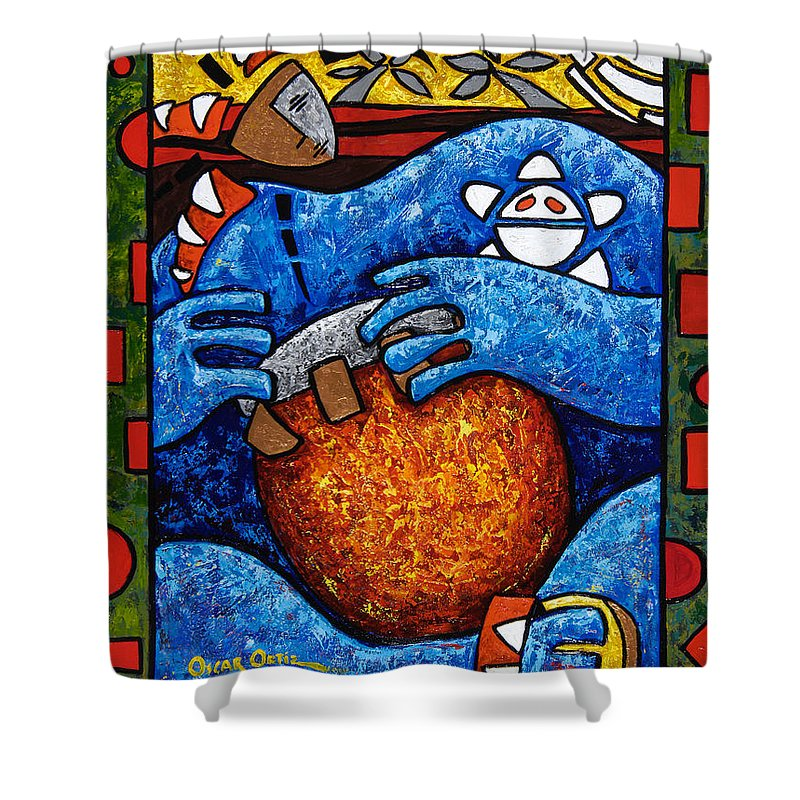 Puerto Rico Shower Curtain featuring the painting Conga On Fire by Oscar Ortiz