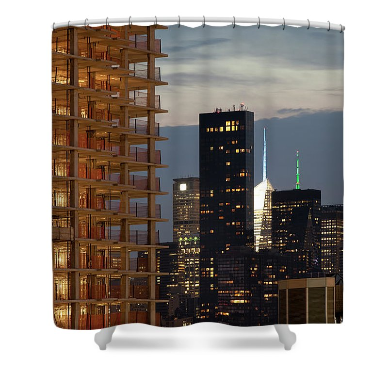 Outdoors Shower Curtain featuring the photograph Construction And The Manhattan Skyline by Marcaux
