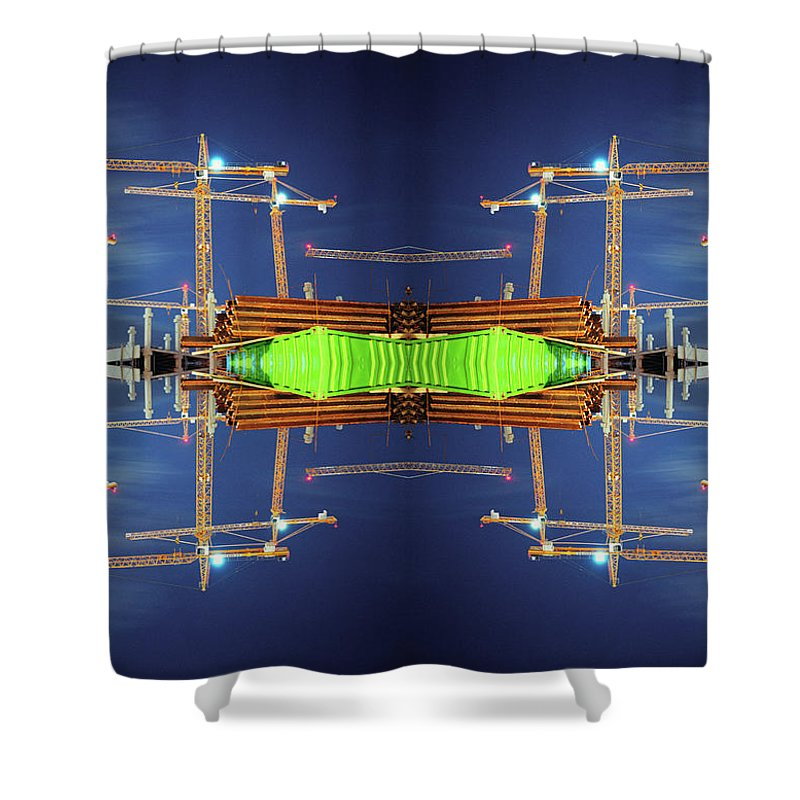 Construction Site Shower Curtain featuring the photograph Construction Cranes Mosaic by Silvia Otte