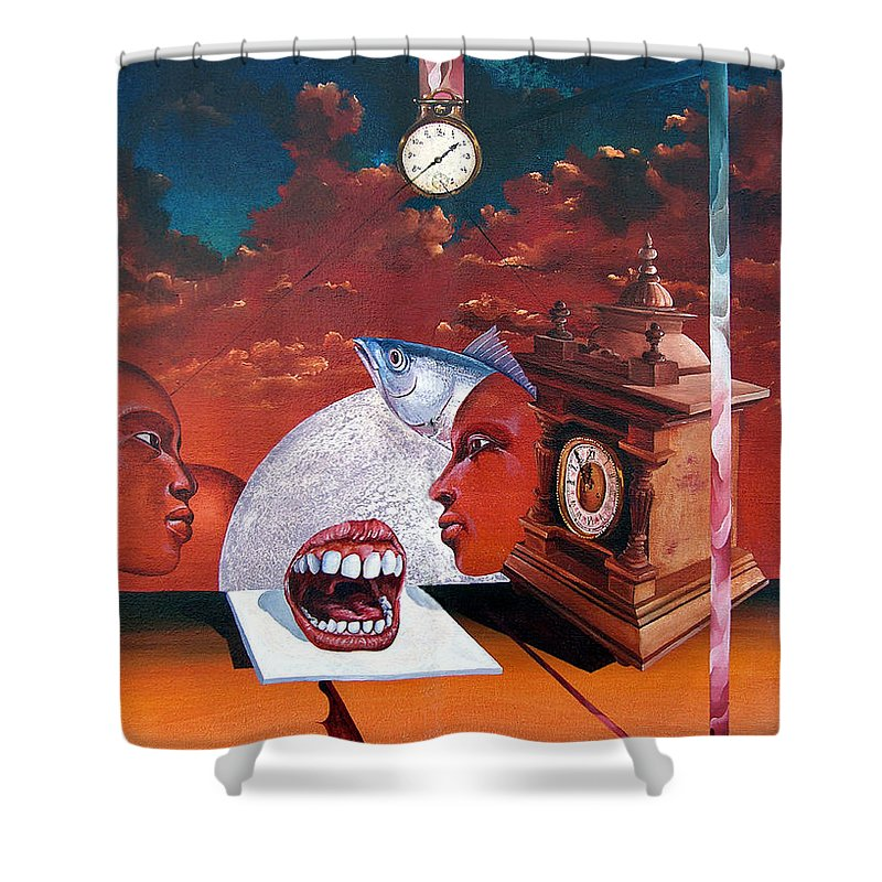 Otto+rapp Surrealism Surreal Fantasy Time Clocks Watch Consumption Shower Curtain featuring the painting Consumption Of Time by Otto Rapp