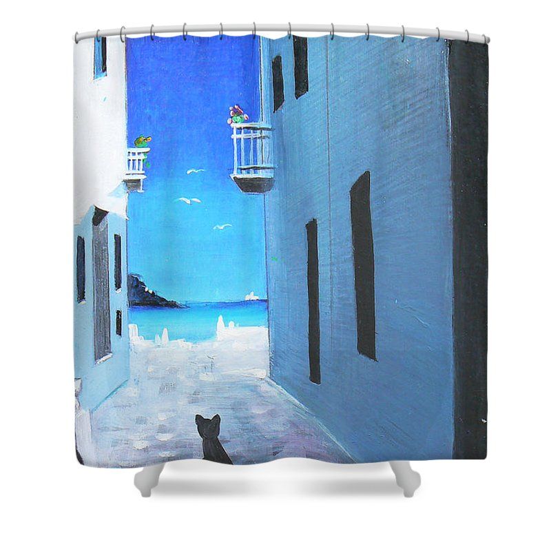 Black Shower Curtain featuring the painting Contemplating by Artist ForYou
